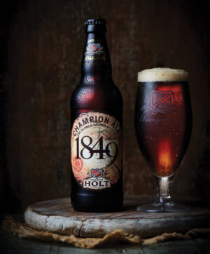 1849 champion ale bottle and glass