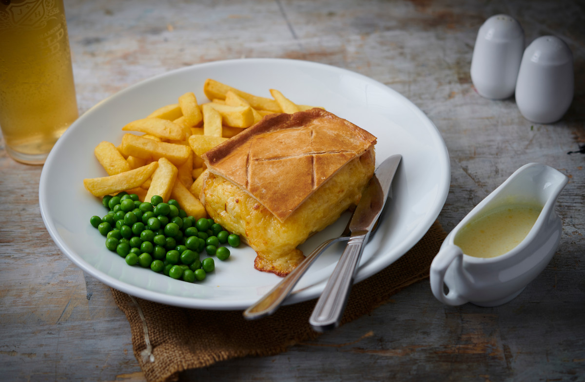 joseph holt cheese and onion pie with chips and peas