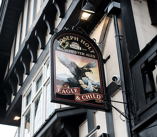 eagle and child pub sign whitefield