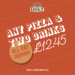 any pizza and 2 drinks for 12.45
