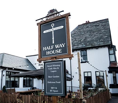 half way house pub sign in blackpool