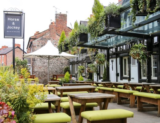 horse and jockey pub chorlton front beer garden