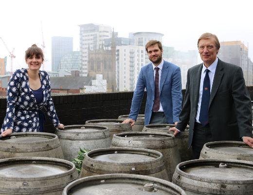 Jane, Andrew and Richard Kershaw on Joseph Holt roof