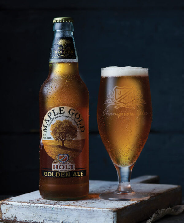 maple gold bottle with ale glass