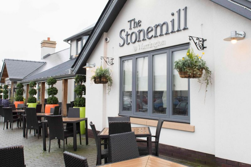 the stonemill outside of the food pub in warrington