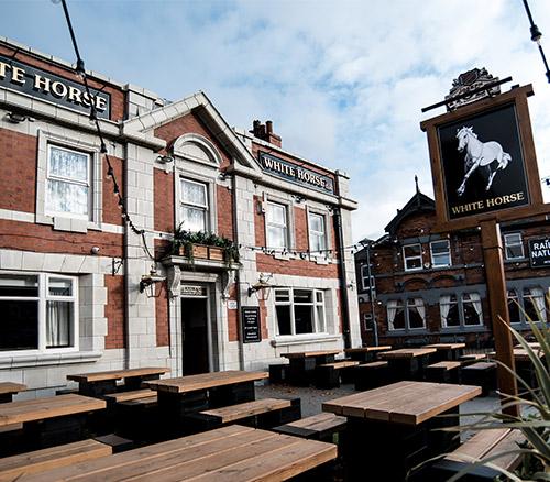 white horse pub outside
