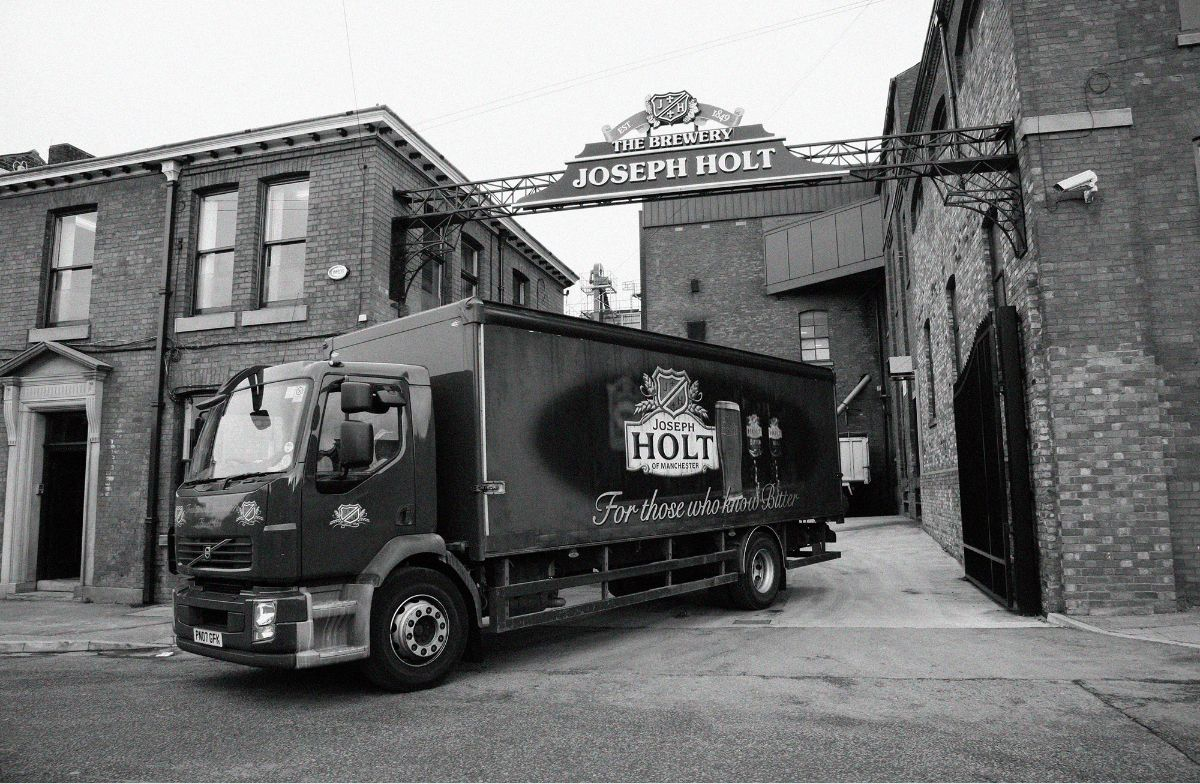 Joseph holt lorry leaving the brewery