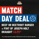 Match Day Offer Burger and a pint