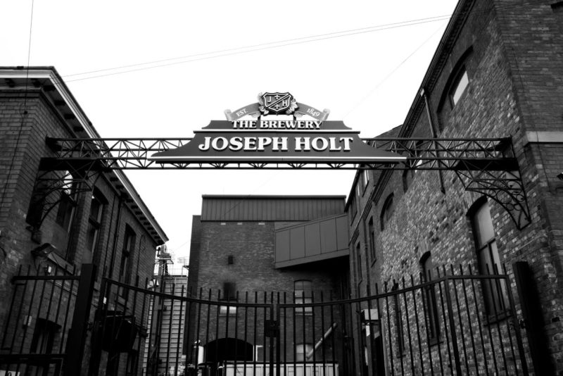 Joseph Holt brewery sign black and white