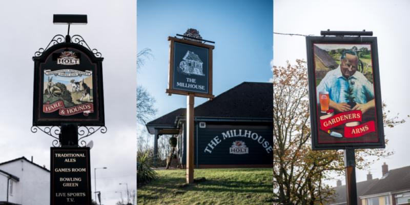 three pictorials joseph holt pub signs