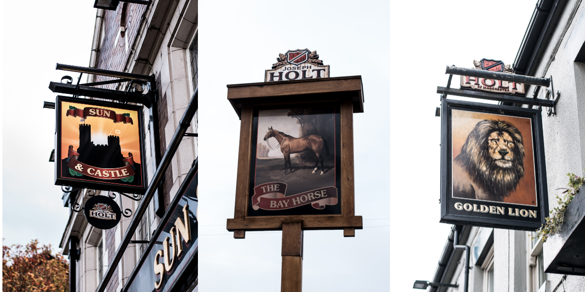 three pub sign pictorials