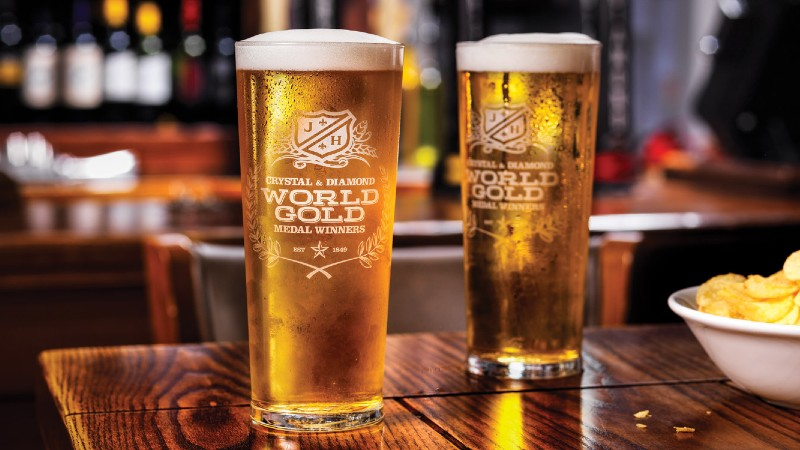 http://crystal%20gold%20lager%20pints%20on%20a%20table