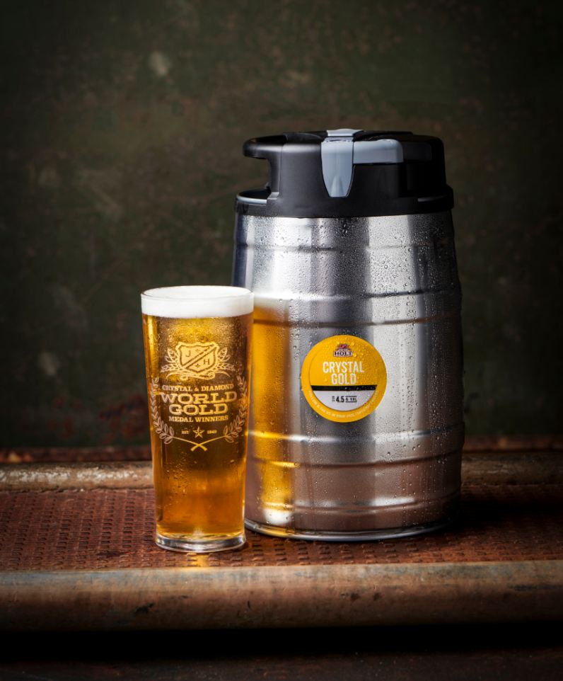 Crystal Gold mini keg and pint with glass