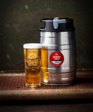 Diamond Lager 5l mini keg with pint of beer