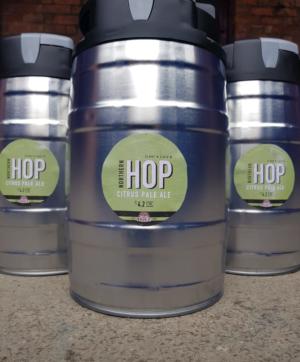 three mini kegs of northern hop