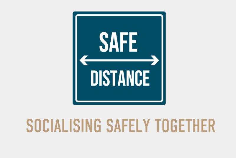 Socialising safely together grey