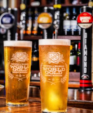 World Gold Pint Lager Glass