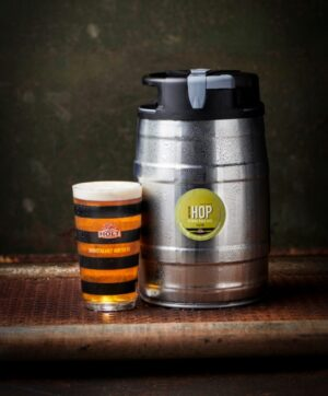 northern Hop Pale Ale 5l mini keg with manchester bee glass