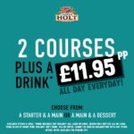 tier 3 offer 2 courses plus a drink for 11.95
