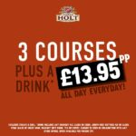 3 courses plus a drink for 13.95