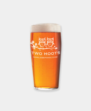 two hoots pint glass